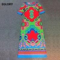 New 2019 Spring Summer Long Dress Plus Size XXL Women O Neck Exquisite Print Half Sleeve Floor Length Dress Silk Jersey Vestido