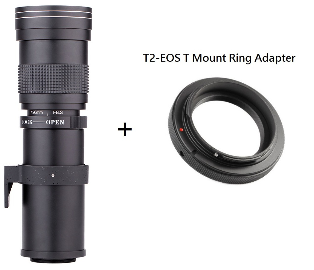 Lightdow 420-800mm F / 8.3-16 Super Telephoto Lens Manual Zoom + Adaptor T2 Mount Ring pentru Canon EOS DSLR Camera EF EF-S Mount Lens