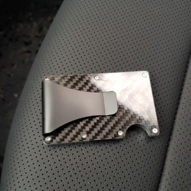 2019 new design minimalist wallet rfid blocking for men carbon fiber wallet credit card holder 5