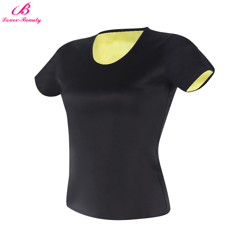 Lover-Beauty Slim Shapewear Women T-shirt Short Sleeve Tops Neoprene Slimming Tee Workout Fitness Thermo Fat Burning Shaper image