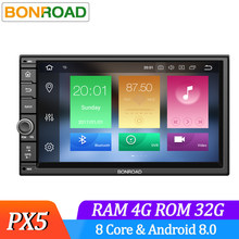 Bonroad Android 8,0 Octa Core PX5 4G RAM Radio de coche Universal GPS navegación estéreo de Audio HD 1024*600 WIFI Bluetooth No DVD(China)