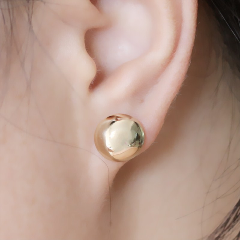 Punk Simple Faux White Marble Stone Ball Round Stud Earrings Women Jewelry