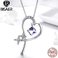 d8bdabae24db 925 plata esterlina azul cubo de cristal universo corazón estrella colgante  de collar para las mujeres de boda de lujo joyería d.