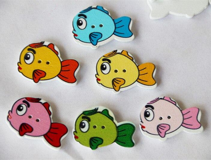 DIY чистые принадлежности для рукоделия красочная живопись маленькая Рыба деревянные пуговицы Детская Кнопка 100 шт/партия 20*27 мм
