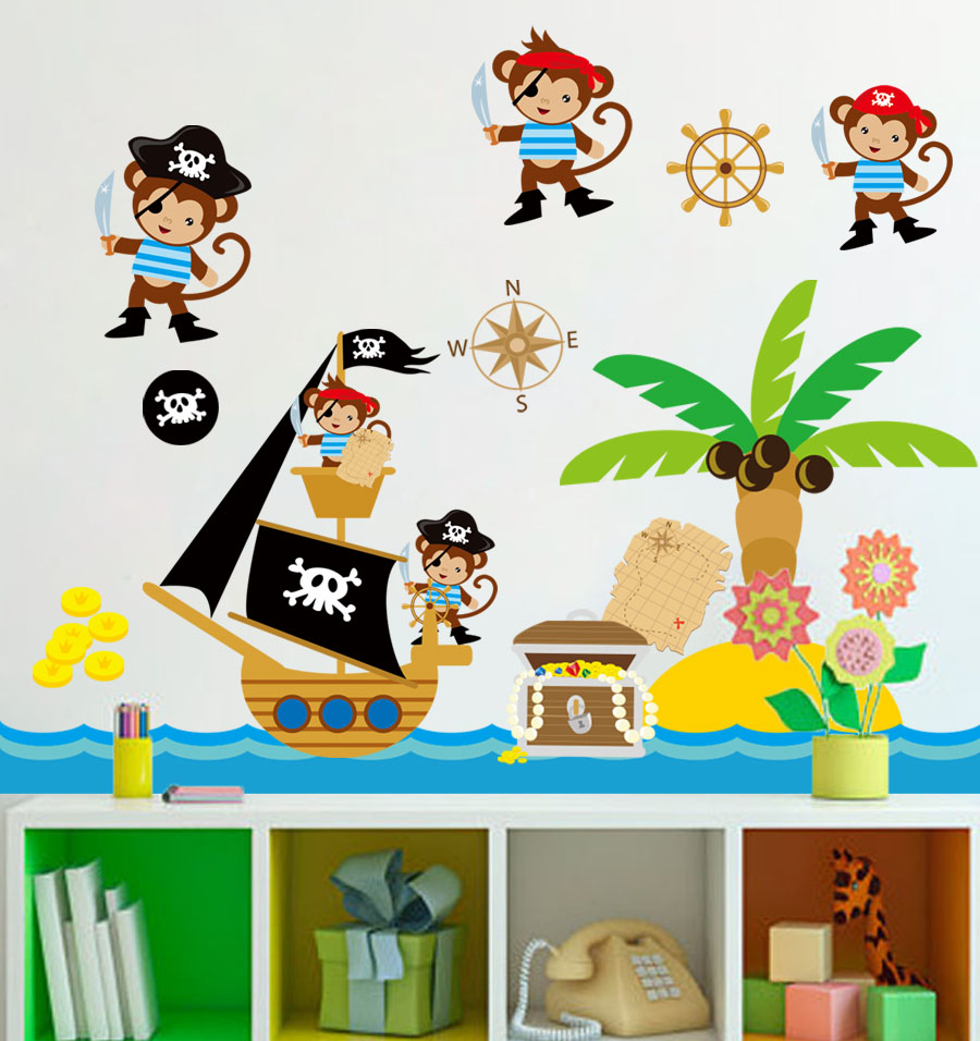 Pirate Ship Wall Stickers Animal Monkey Jungle Nursery Baby Kids Bedroom Decal