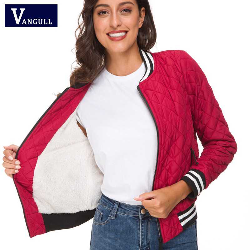 Vangull 2019 Spring Fashion Women's Clothing Velvet Lamb Short   Basic     Jacket   O-Neck Zipper Slim Outerwear Long Sleeve Female Coat