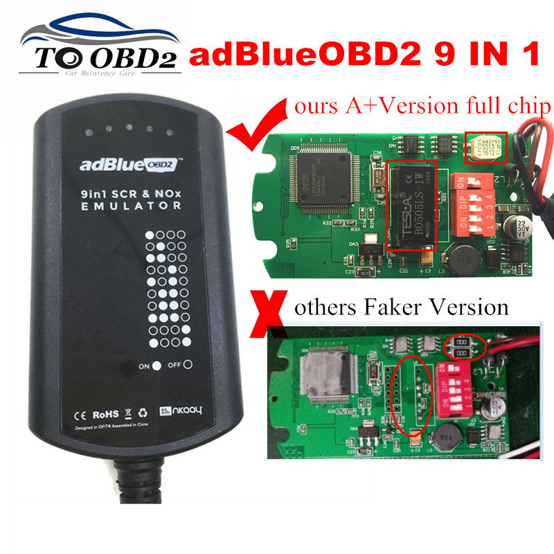 AdBlue Emulator System Box 9 IN 1 For MEN/MB/SCANIA/IVECO/DAF/VOLVO/RENAULT/CUMMINS AdBlue 9in1 SCR&NOX A+Version Full Chip
