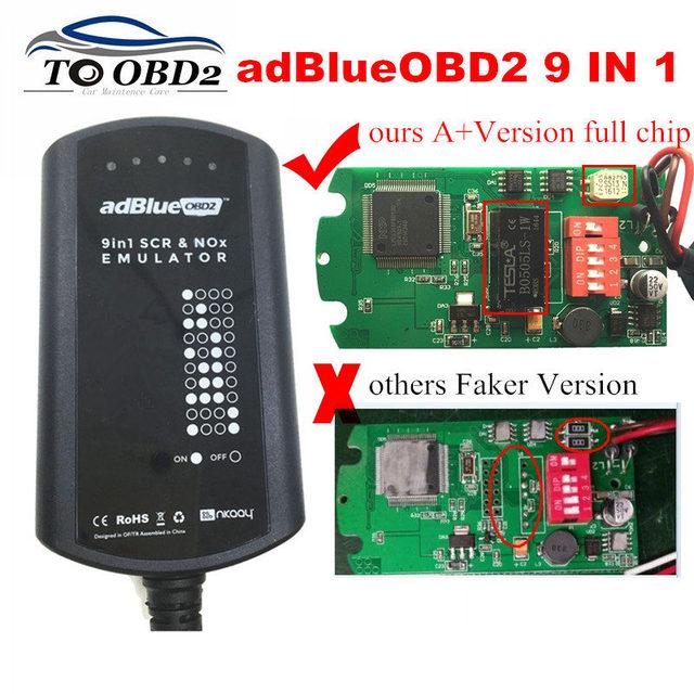 AdBlue boîtier de système émulateur 9 en 1, pour hommes, MB/SCANIA/IVECO/DAF/VOLVO/RENAULT/CUMMINS AdBlue, 9 en 1 SCR & NOX A + puce complète