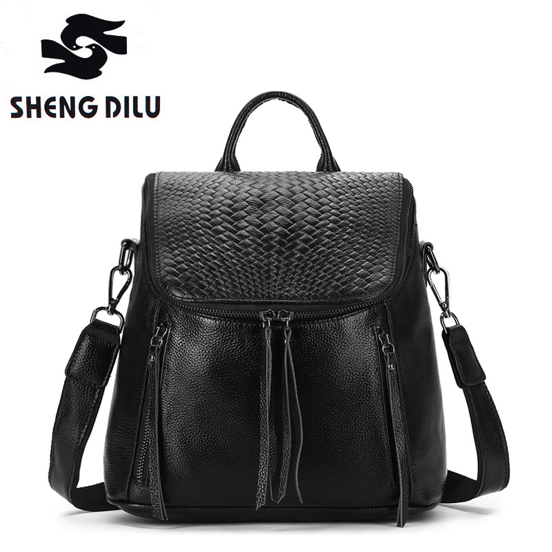 Cow mochila Weave pattern Backpack shengdilu brand 2018 new women shoulder bag 100% genuine leather school bag free shipping genuine leather handbag 2018 new shengdilu brand intellectual beauty women shoulder messenger bag bolsa feminina free shipping