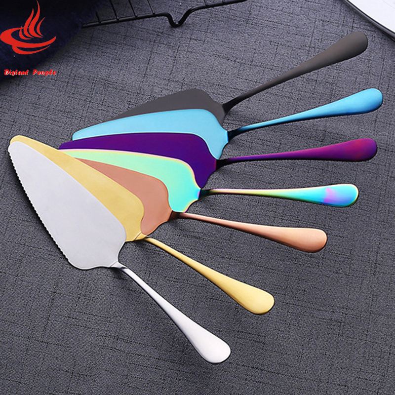Stainless Steel Pizza Cutter 7 Colors Serrated Edge Cake Blade Cutter Cheese Dessert Cutlery Bakeware Cake Spatula Kichen Tool