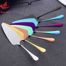 Stainless Steel Pizza Shovel 7 Colors Serrated Edge Cake Server Blade Cutter Cheese Dessert Cutlery Bakeware Cake Spatula(China)