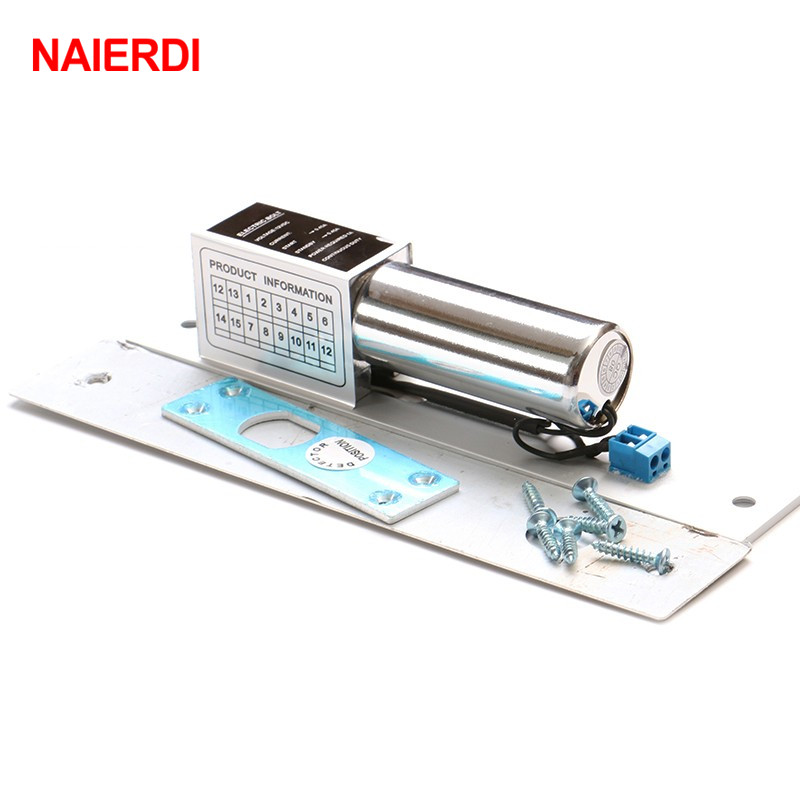 купить NAIERDI DC 12V Electric Drop Bolt Door Lock 2-Lines Magnetic Induction Auto Deadbolt Locks Security Door Access Control Systems по цене 1296.71 рублей