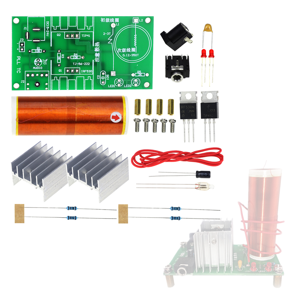 Integrated Circuits Systematic 15w Mini Music Tesla Coil Plasma Speaker Tesla Arc Generator Wireless Transmission Dc 15-24v Diy Kit Strengthening Sinews And Bones Electronic Components & Supplies