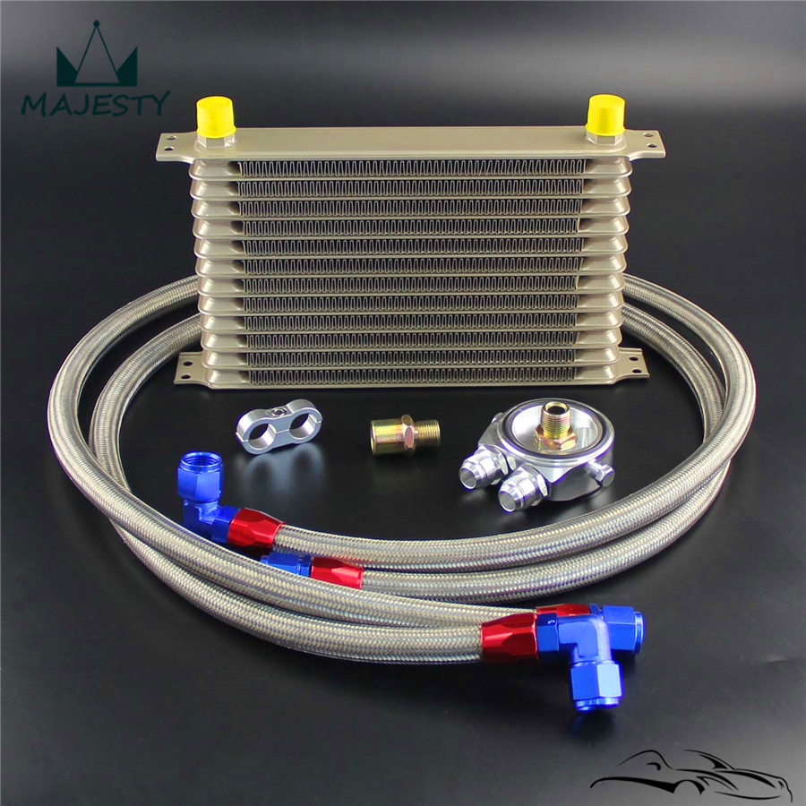 13 Row AN10 Oil Cooler w 34*16 & M20*1.5 Filter Adapter Hose Kit Champagne