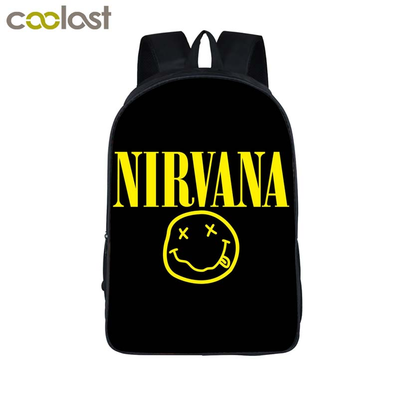 Rock Band Nirvana / Soundgarden / Alice in Chains Backpack For Teenage Boys Girls School Bags Punk Women Men Laptop Backpack Bag new 3d skull backpack shoulder bags for men printing backpack men punk rock school backpack for men casual school bags for boys