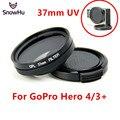Gopro accesorios de la cámara filtro uv lente cover set para go pro hero 4 3 + cámara 37mm diámetro gp167