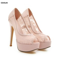 CDAXILAN new arrivals pumps women wedding party lace peep toe shoes spike heels super high waterproof platform sexy shoes ladies karinluna new arrivals big size 31 43 round toe platform women shoes woman elegant spike high heels party office lady pumps