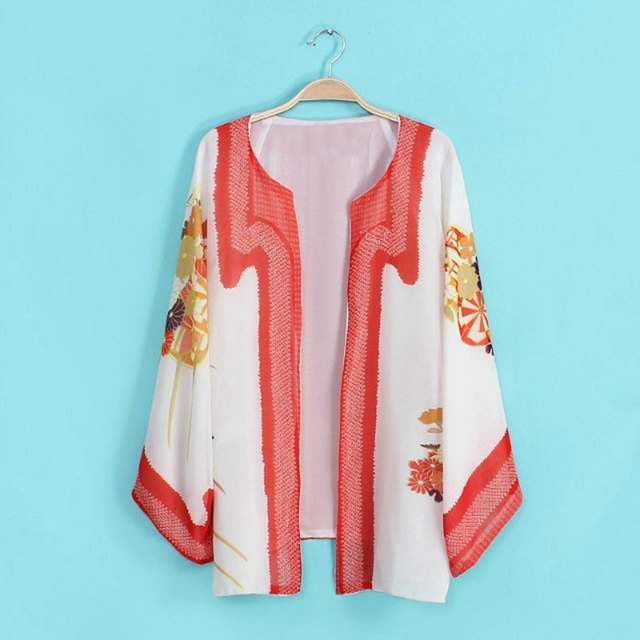 Fashion Stylish Batwing Kimono Cardigan Women Vintage Floral Print Blouse Casual Long Sleeve Female Chiffon Jackets Coat