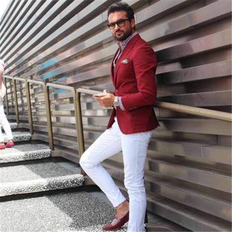 Custom Men Suit Casual Red Suits With White Pants Groom Wedding Party Prom Man Suits For Men 2 Piece (Jacket+Pants)