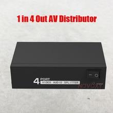 av-сплиттер DVD HDTV RCA Блок видеосплиттера от 1 до 4 выход 3 RCA дистрибьютор 1 в 4 RCA Аудио Видео AV адаптер