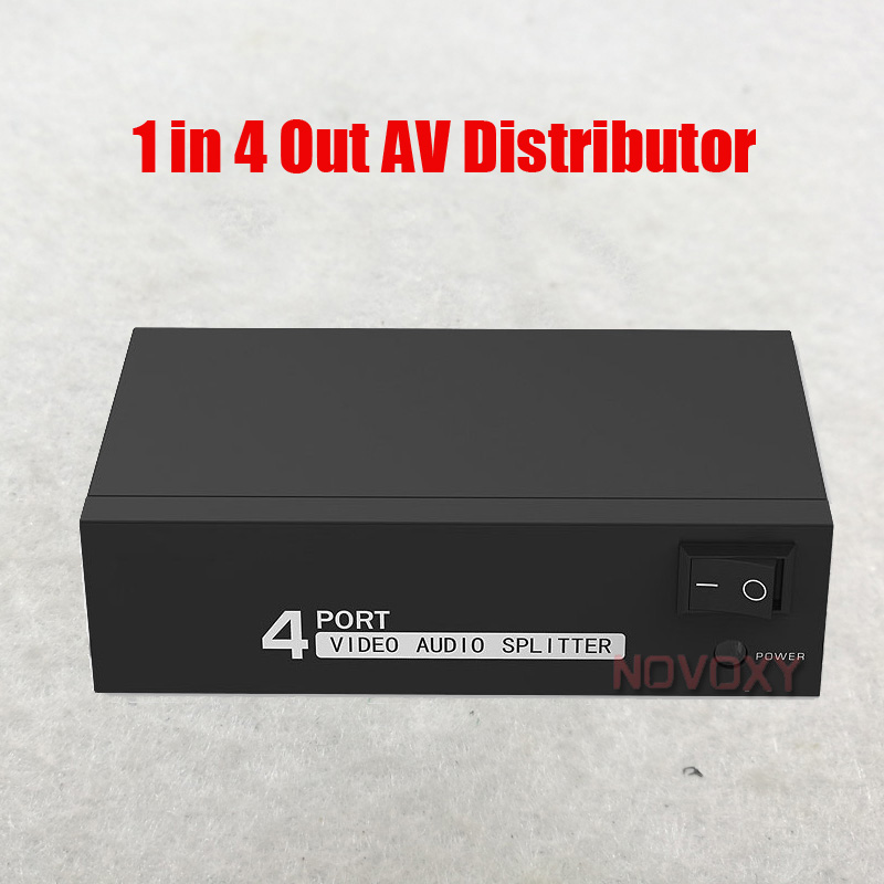 Free Shipping AV Splitter DVD HDTV RCA Video Splitter Box 1 To 4 Out 3 RCA Distributor 1 In 4 RCA Audio Video AV Adapter
