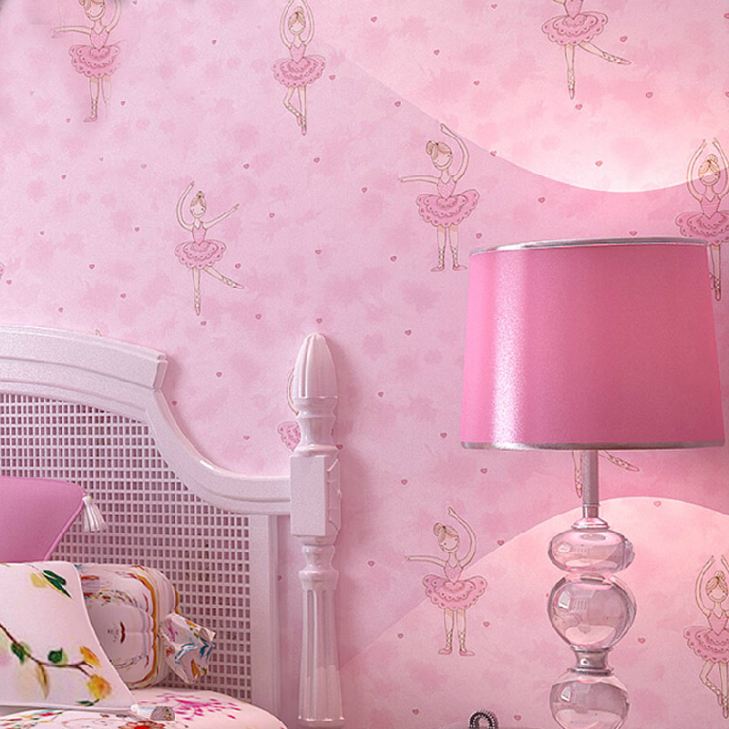 Modern cute cartoon ballet girl wallpaper children room for Fabrics for children s rooms