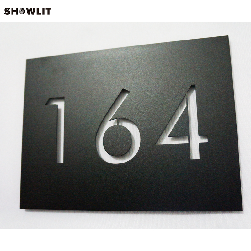 Custom Made Modern Power Coated Black House Number PlateCustom Made Modern Power Coated Black House Number Plate