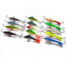 CATCHSIF Ice Fishing Sinking Jigs with Fixed Nose and Tail Hooks Center Treble Tackle Box 15pcs