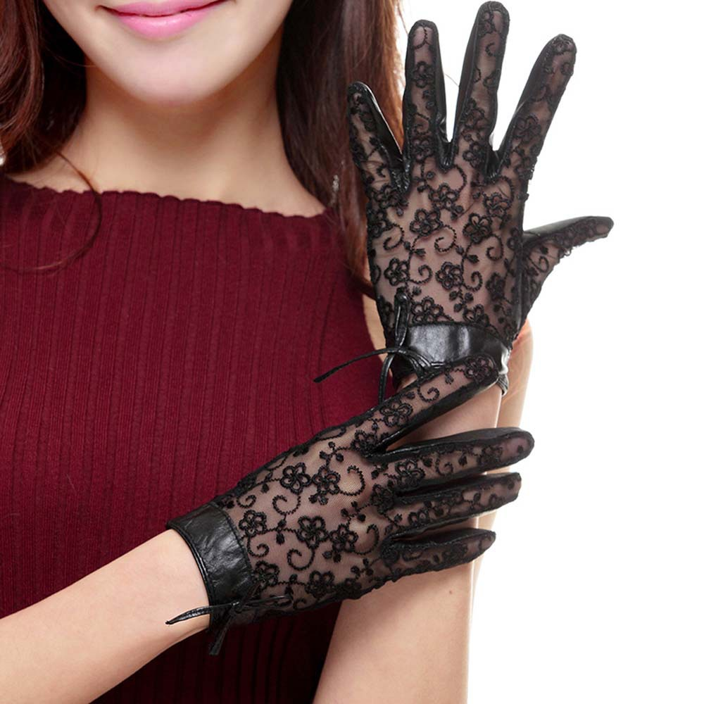 New Fashion Lace Leather Gloves Sunscreen Full Finger Sheepskin Gloves Black Purple Beige Women Driving Lace Gloves in Women 39 s Gloves from Apparel Accessories