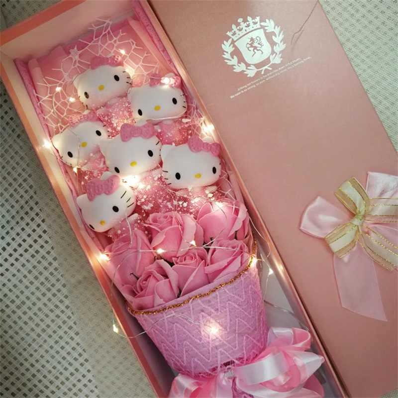 Gato lindo vinil dolls action figure toy + rosas do sabão Da Flor Dos Desenhos Animados Bouquet presentes de Natal Dia Dos Namorados Criativo
