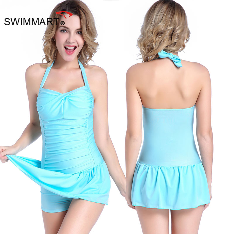 SWIMMART 2017 New Sexy One Piece Swimsuit Women Plus Size Halter Solid Color Swimsuit Ladies Swimwear Swimsuit VS024 trendy solid color halter pleated one piece skirt swimwear for women