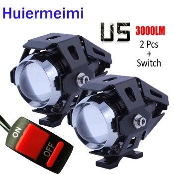 цена на Huiermeimi 2PCS 125W Motorcycle LED Headlight 12V 3000LMW U5 Motorbike Driving Spotlights Headlamp Moto Spot Head Light Lamp DRL