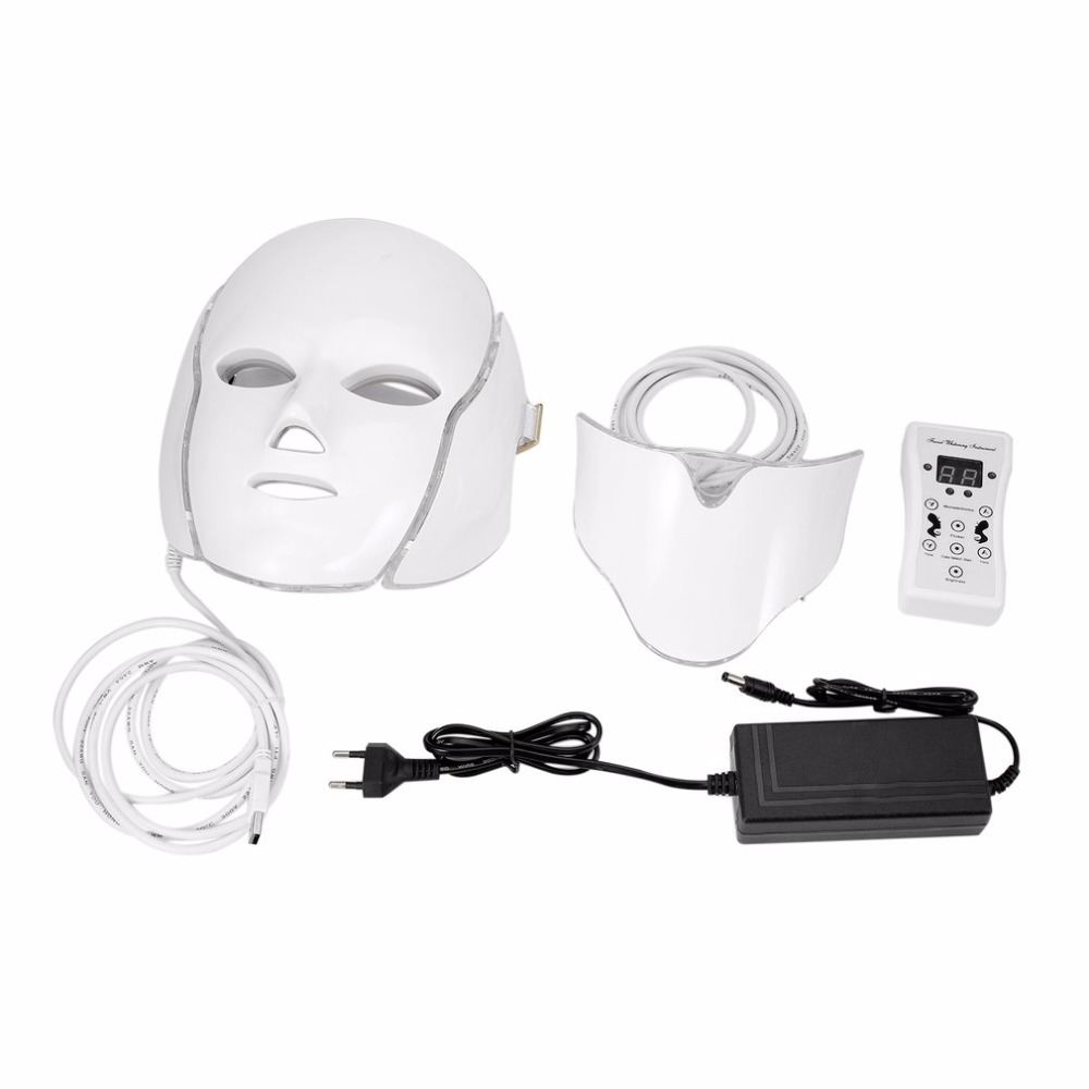 LED 7Colors Light Microcurrent Facial Mask Machine Photon Therapy Skin Rejuvenation Facial Neck Mask Whitening Electric Device anti acne pigment removal photon led light therapy facial beauty salon skin care treatment massager machine