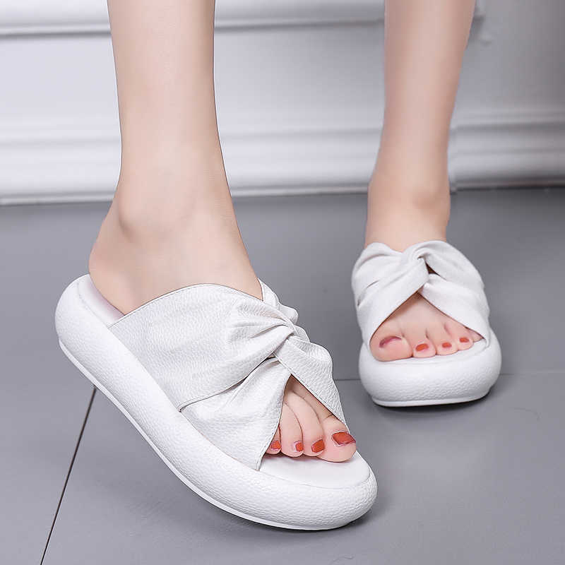HEE GRAND Flat Platform Slides Women Slippers Slip On Creepers Summer Shoes Woman Solid Soft Bottom Ladies Flip Flops XWT1828