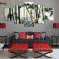Free shipping Landscape canvas painting bamboo and peacock wall painting HD Large image artwork unframed F061