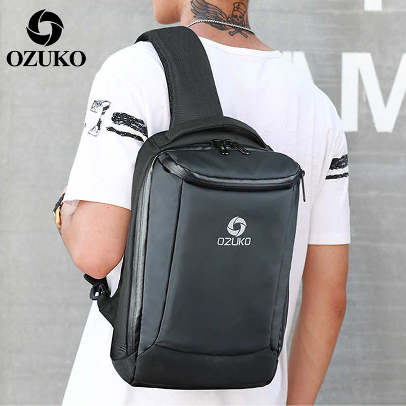 2019 OZUKO New Fashion Men Oxford Men's Chest Bags Business Casual Men Messenger Bag USB Charging Crossbody Single Shoulder Bag