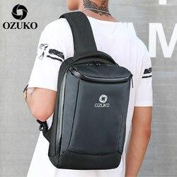 2019 ozuko nova moda masculina oxford peito sacos de negócios casuais homens mensageiro saco de carregamento usb crossbody bolsa de ombro único