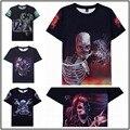 2016 nueva moda Impresión Abstracta Del hueso Del Cráneo de la camiseta Unisex Mujeres/Hombres 3d camiseta Ocasional para los hombres/de las mujeres harajuku camiseta
