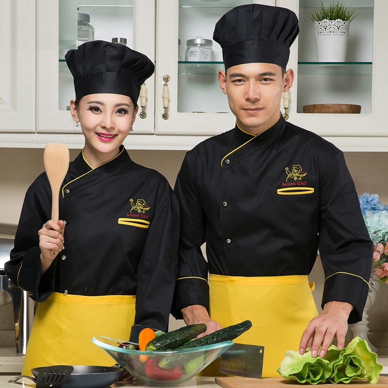 (10set-hat&shirt&apron)Black Long-sleeve Chef Work Wear Cake Pastry Uniform Restaurant Chefs Work Clothes Teppanyaki Overalls