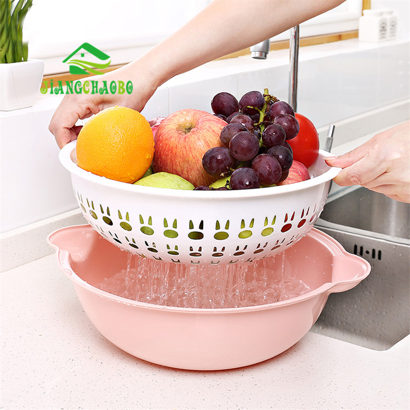 Us 7 53 29 Off Jiangchaobo Double Plastic Sink Creative Fruit Basket Bowl Home Kitchen Washing Drain Drip Basin In
