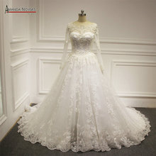 AMANDA NOVIAS Noivas Heavy Full Muslim Wedding Dresses
