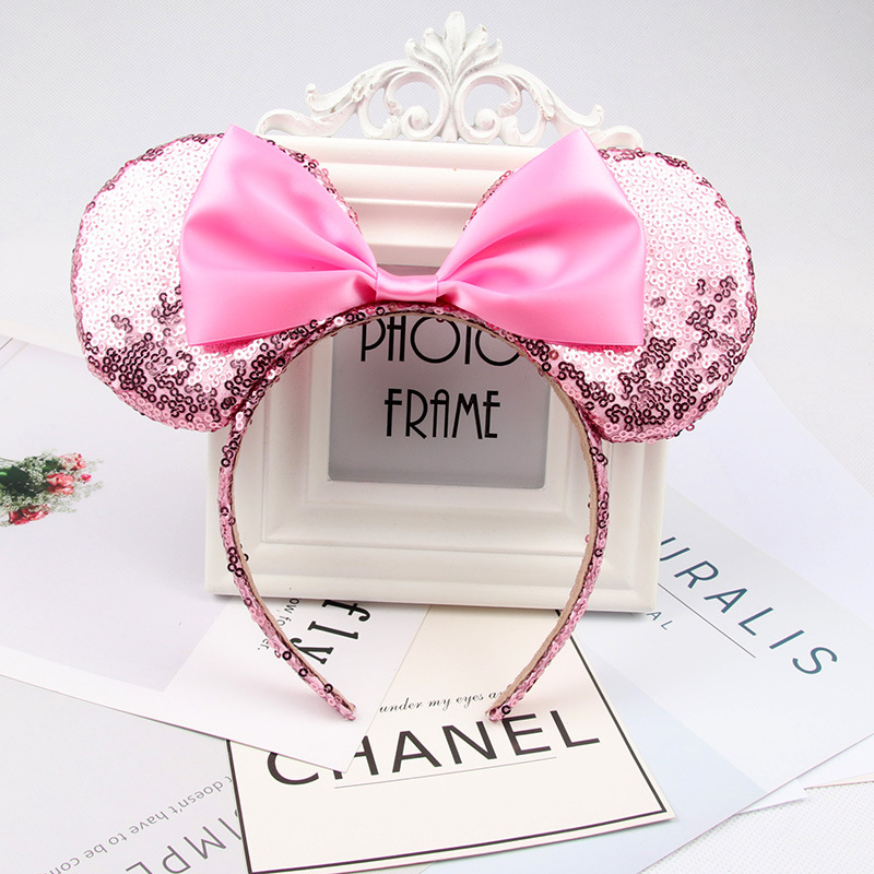 Headwear Hairband Sequin Bow Headband for Girls Minnie Mouse Ears Hairbands Birthday Party Kids Fashion Hair Accessories 12
