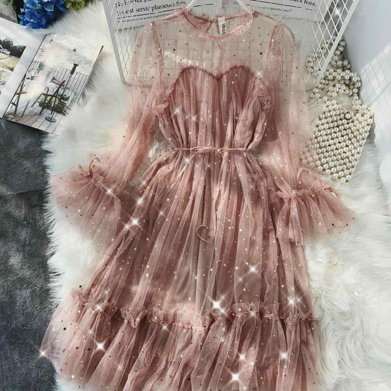 HISUMA spring Summer new female O-neck flare sleeve stars sequined mesh shiny fairy dress women elegant bling pleated dresses