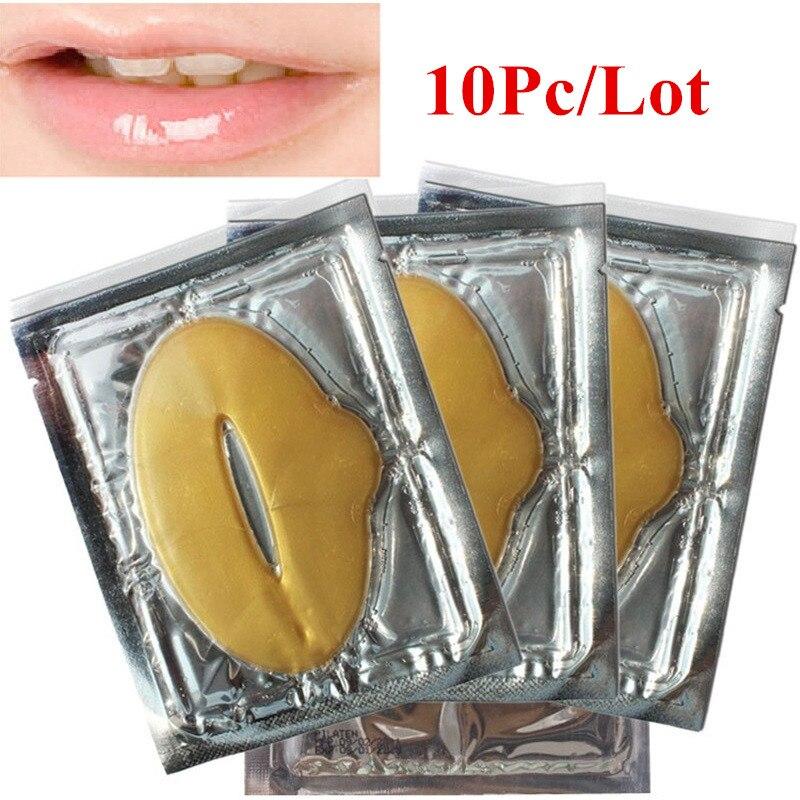 10PCS Plump Lip Gold Powder Crystal Collagen Lip Mask Whitening Moisturizing Essence Lip Care Anti-wrinkle Skin Repair Patch