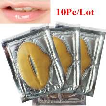 10pcs New Women Lady Lips Care Gold Sexy Crystal Membrane Collagen Moisture Essence Lip Masks
