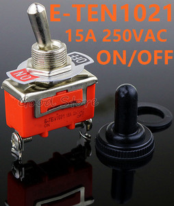 Free Shipping 1pcs Good Quality E-TEN1021 2-Pin SPST 2 Terminal ON-OFF 15A 250V Toggle Switch orange