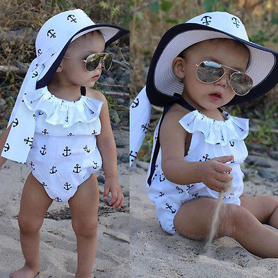 Infant Baby Girl Cotton White Romper Anchor Body Sleeveless Jumpsuit Outfits Sunsuit Ruffles Clothes