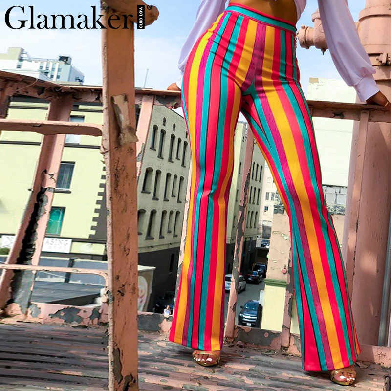 Glamaker Sexy striped high waist casual skinny   pants   Women winter bootcut   pants   bodycon trousers Female bottoms   pants   &   capris