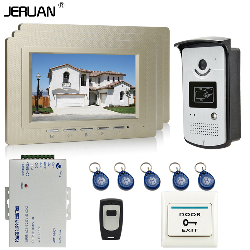 JERUAN New 7`` Color Screen Video DoorPhone Intercom System 3 Monitor +700TVL RFID Access Camera For 3 house In Stock