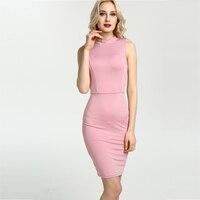 10 Kolory Sexy Sukienka Kobiety Party Suknie Krótkie 2017 Otwarta powrót Wysoka Neck Bez Rękawów Bodycon Midi Sukienka Na Co Dzień Plus Size T00111